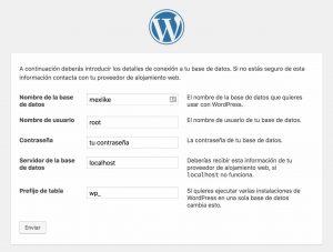 Configurar datos de acceso de MySQL en wordpress