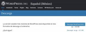 Página para descargar wordpress
