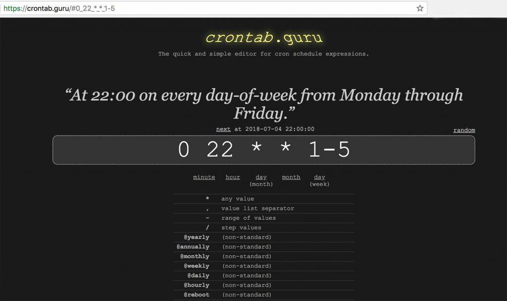 Sitio web de Crontab Guru